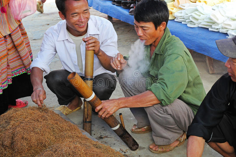 Lokale tabak in Bac Ha-markt royalty-vrije stock afbeeldingen