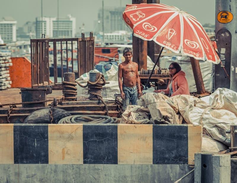 Lokale visserij/boot arbeiders Thailand royalty-vrije stock foto