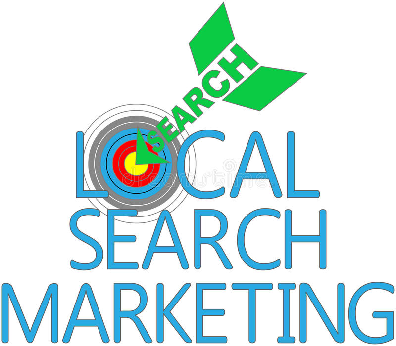 Lokales Suchmarketing-Ziel SEO lizenzfreie abbildung