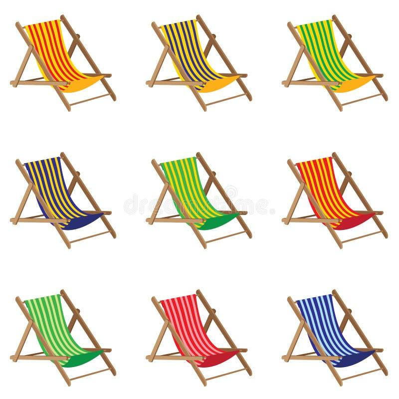 lokaliserad semesterortsjösida för strand stol Färgrik strandstol på vit bakgrund Väggar dekoreras med bambu stock illustrationer