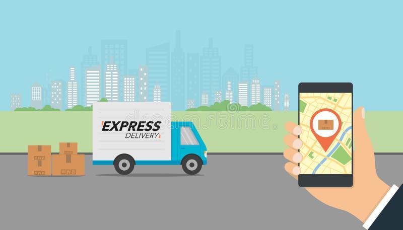 Lokalisiert über weißem Hintergrund Prüfung von Zustelldienst-APP auf Mobil stock abbildung