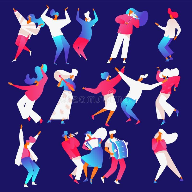 Lokalisiert auf dem blauen backround, das Musikinstrumentleute in den hellen Steigungen tanzt und spielt stock abbildung
