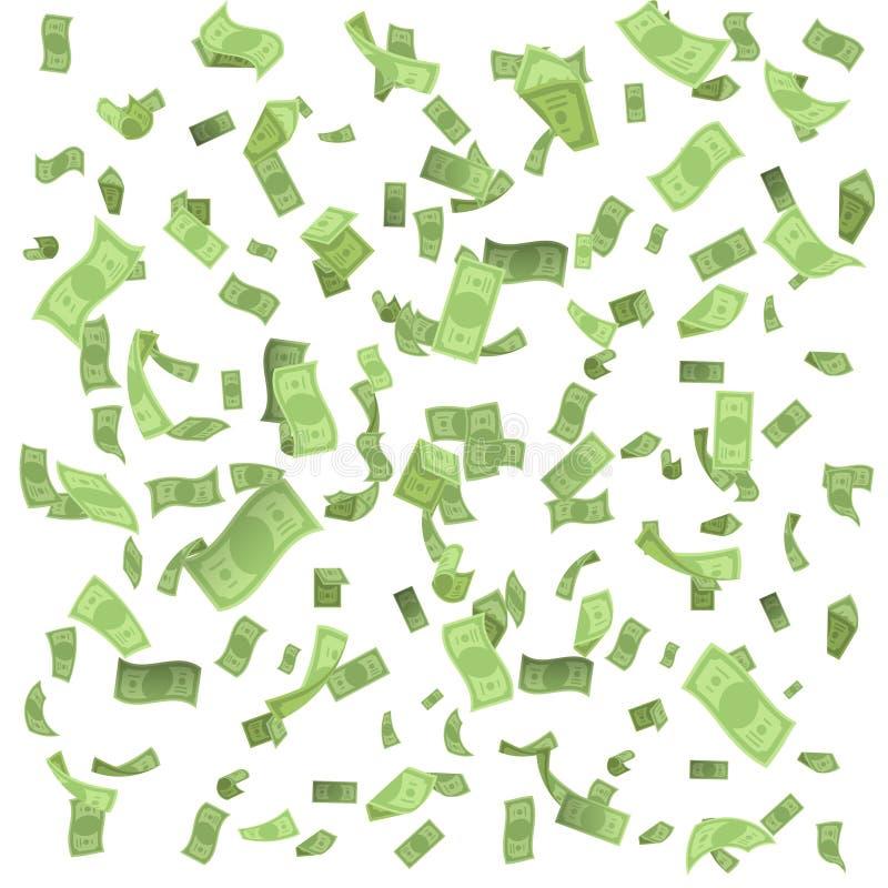 Lokalisiert auf Entwurfsvektor der Konfettis 3d der weißen Geldregenfalleinkommenglückvermögensbanknote fliegendem sich hin- und  stock abbildung