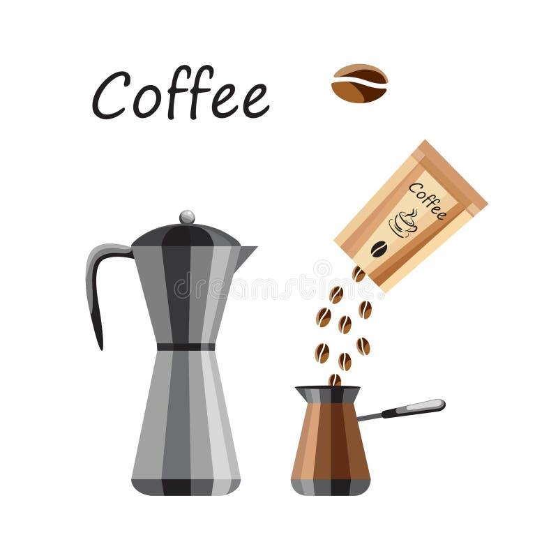 Lokalisiert auf Weiß Kaffeemaschine, eine Tasche des Kaffees, Kaffeebohnen Ikonen für das Menü von Restaurants und von Cafés lizenzfreie stockfotos