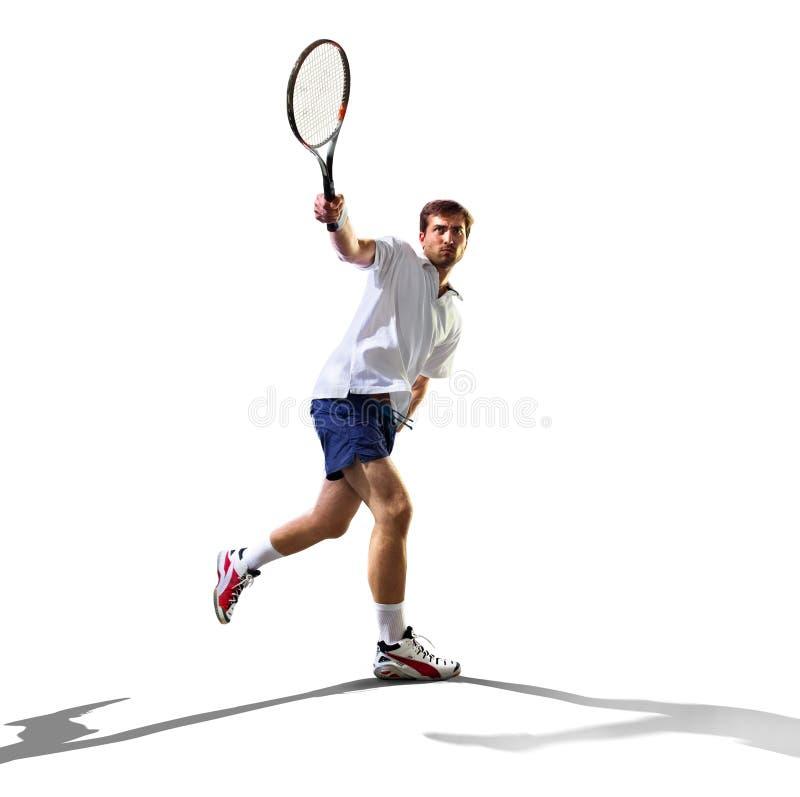 Lokalisiert auf weißem jungem Mann spielt Tennis lizenzfreie stockfotos