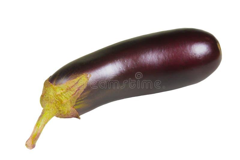 Lokalisiert auf Wei?  Gemüsehintergrund der reifen Aubergine lizenzfreie stockbilder