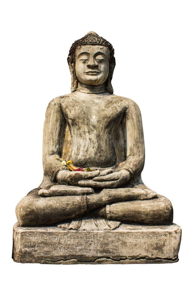 Lokalisiert - Buddha-Statue, altes Chedi in Wat Phra das Hariphunc stockfotografie
