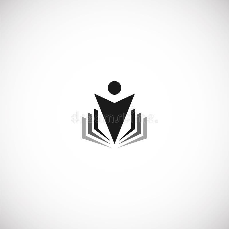 Lokalisierte abstrakte schwarze Farbbildung und lernen Logo, Universität und Schulbuch, Absolventmenschen-Schattenbildfirmenzeich lizenzfreie abbildung