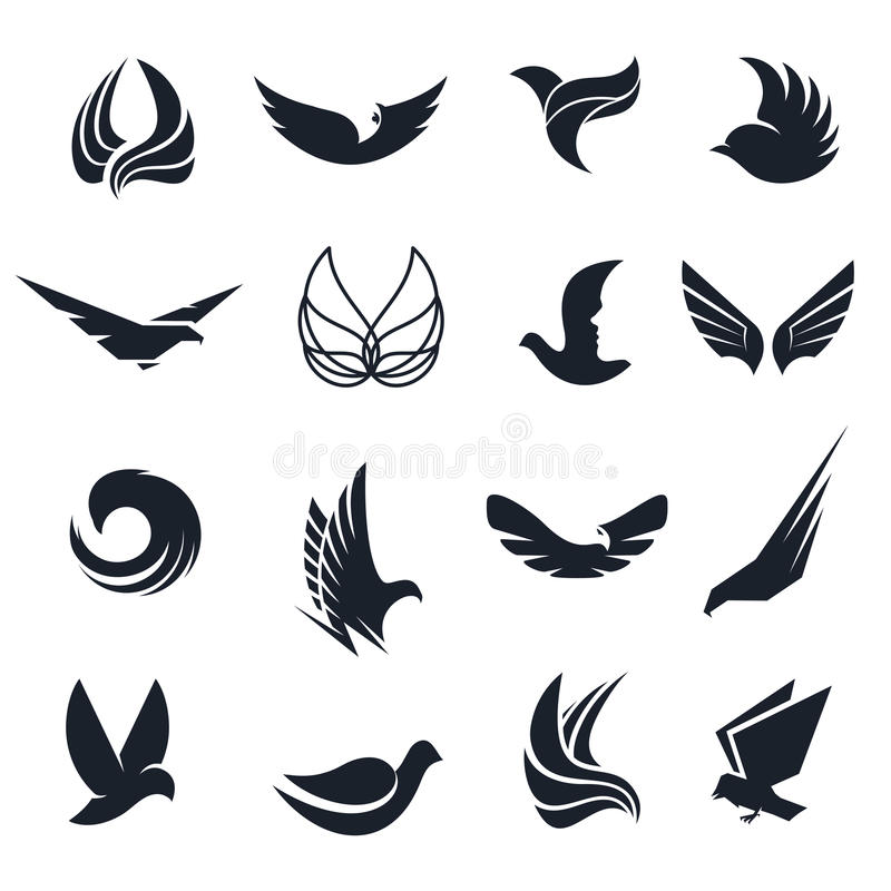 Lokalisierte abstrakte Schwarzweiss-Vögel, Schmetterlingsflügel mit Federlogosatz Flugfirmenzeichensammlung Luftikonen vektor abbildung