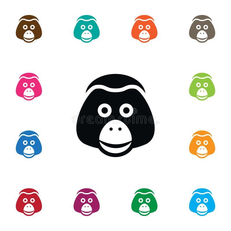 Lokalisierte Affe-Ikone Affen-Vektor-Element kann für Affen, Affe, Pavian-Konzept des Entwurfes benutzt werden stock abbildung