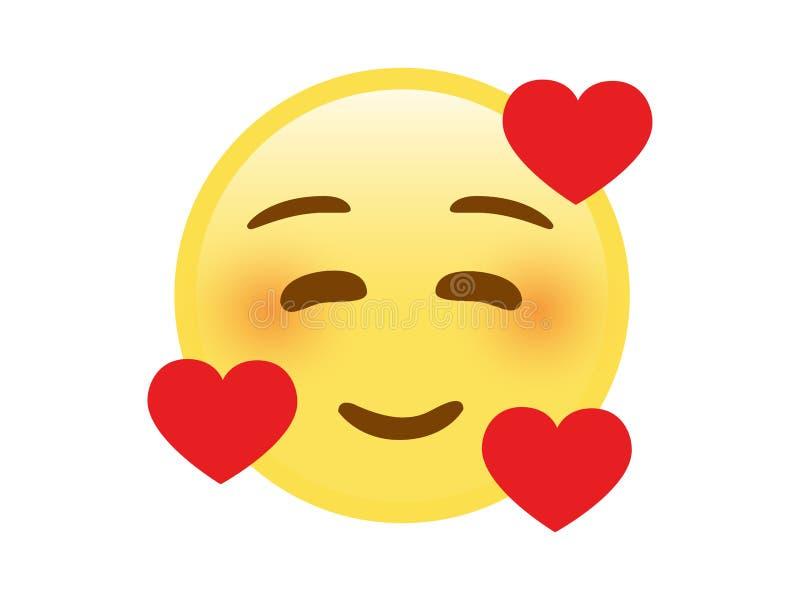 Lokalisierte Backen-Gesichtsikone des gelben smiley rote mit Schatz lizenzfreie abbildung