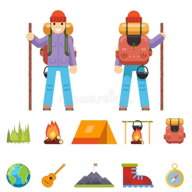 Lokalisierte Backpaker-Charakter-Gebirgsreise-Reise-Ferien-Mann-hölzernes Sommer-Frühlings-Konzept-flaches Design Ikonen-gesetzte vektor abbildung