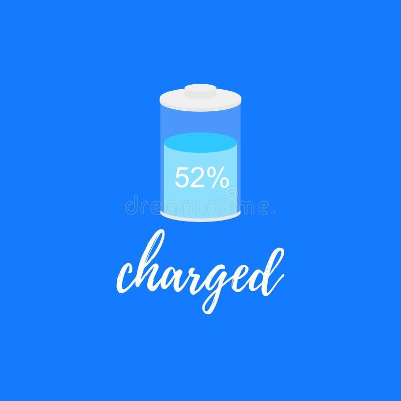 Lokalisierte Batterieikone 52 aufgeladen lizenzfreie abbildung