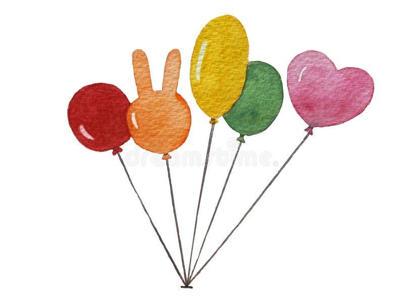 Lokalisierte bunte Ballone des Aquarells auf weißem Hintergrund stockfotos