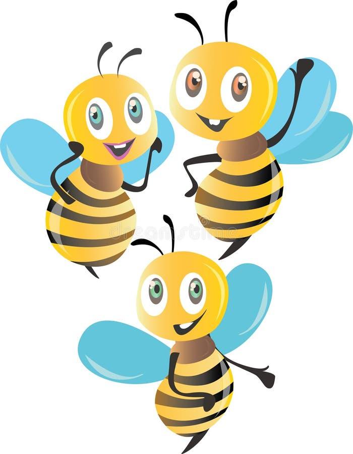 Lokalisierte bunte Illustration der Bienen 3D lizenzfreie abbildung