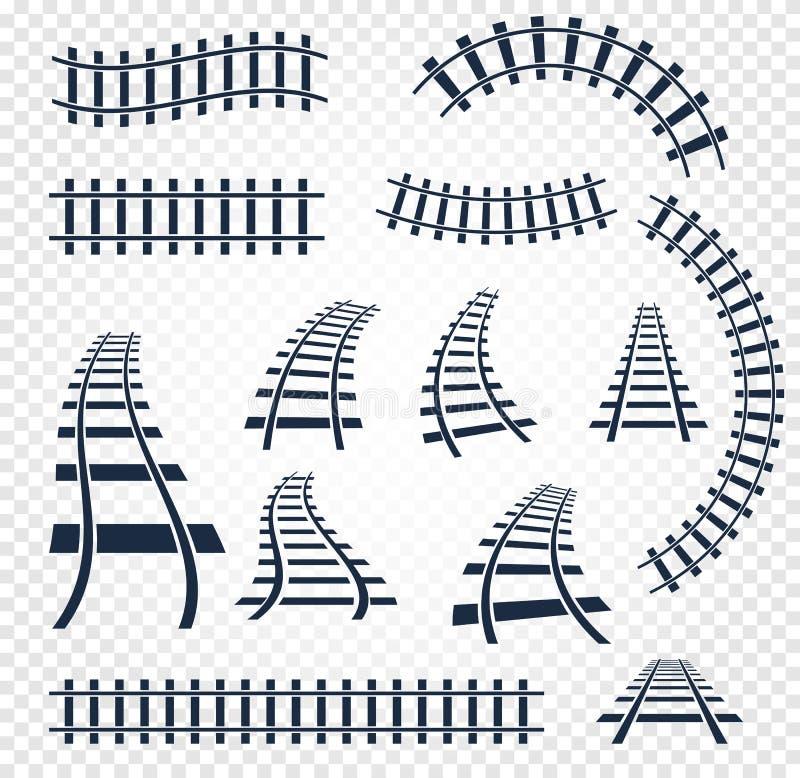 Lokalisierte curvy und gerade Schienen stellten, Bahndraufsichtsammlung, Leiterelement-Vektorillustrationen auf Weiß ein stock abbildung