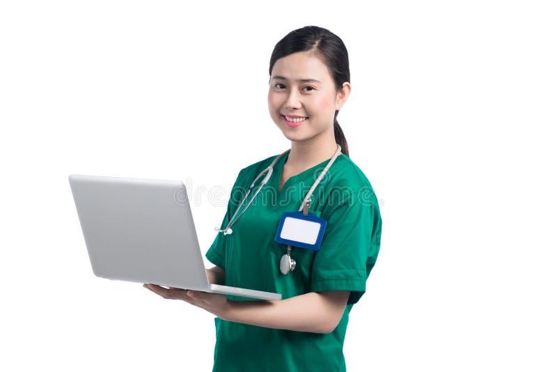 Lokalisierte der menschliche freundliche Bürostudent Glückdame, der erwachsene nette Gesundheit schaut, glückliche Sorgfalttechno stockbild