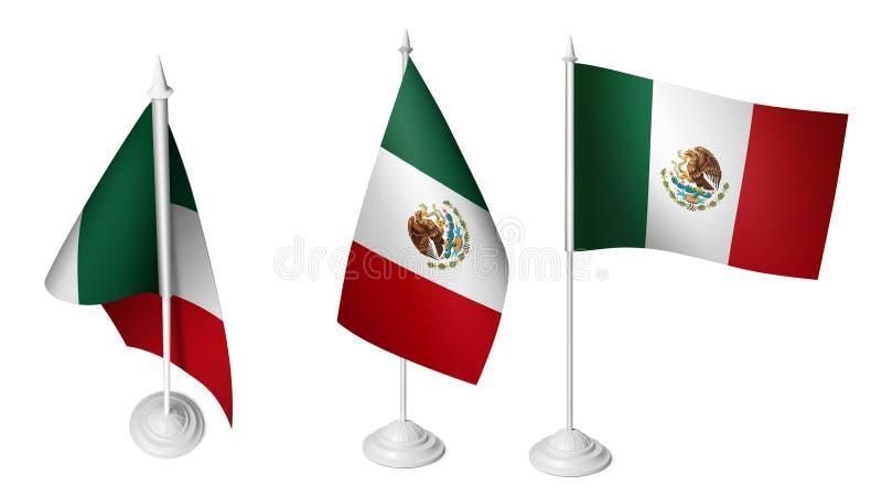 3 lokalisierte die kleine Schreibtisch-mexikanische Flagge, die realistisches mexikanisches Foto 3d wellenartig bewegt vektor abbildung