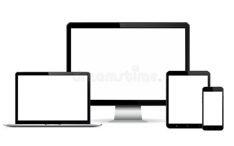 Lokalisierte digitale Geräte mit leerem Raum auf weißem Hintergrund lizenzfreie stockfotografie