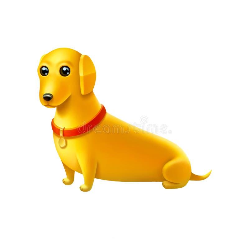 Lokalisierte digitale Illustration des gelben Hundes mit rotem Kragen stock abbildung