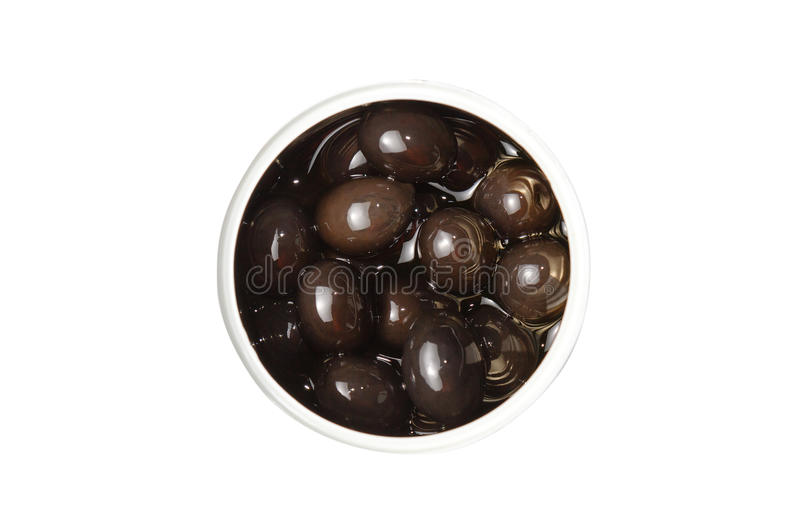 Lokalisierte Dose schwarze Oliven lizenzfreies stockfoto