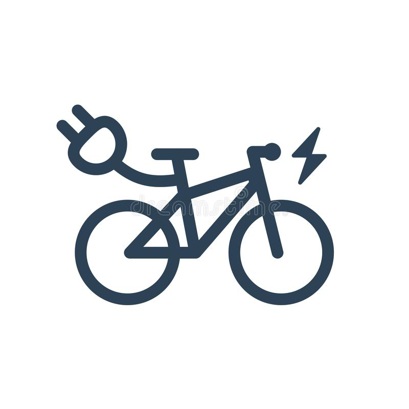 Lokalisierte elektrisches Stadt-Fahrrad-lineare Vektor-Ikone vektor abbildung
