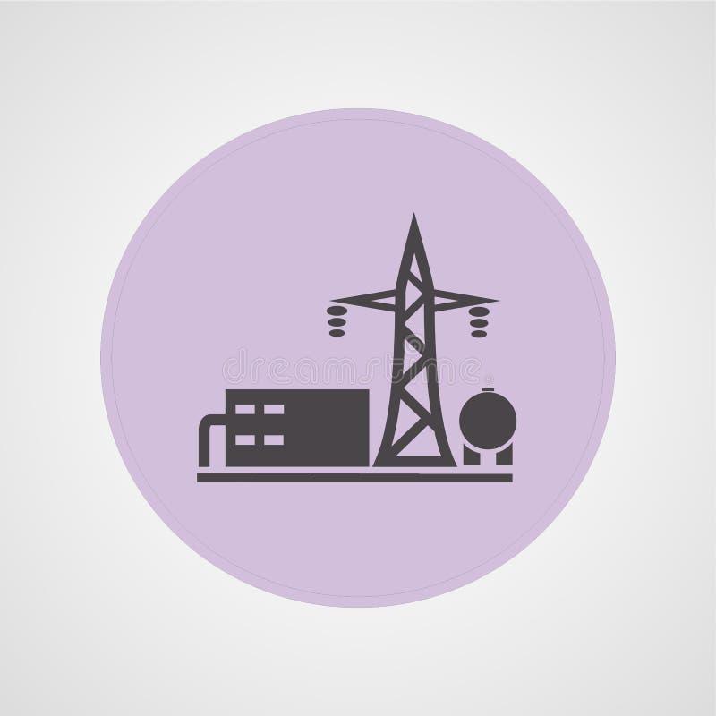 Lokalisierte flache Ikone des Kraftwerks der elektrischen Leistung lizenzfreie abbildung