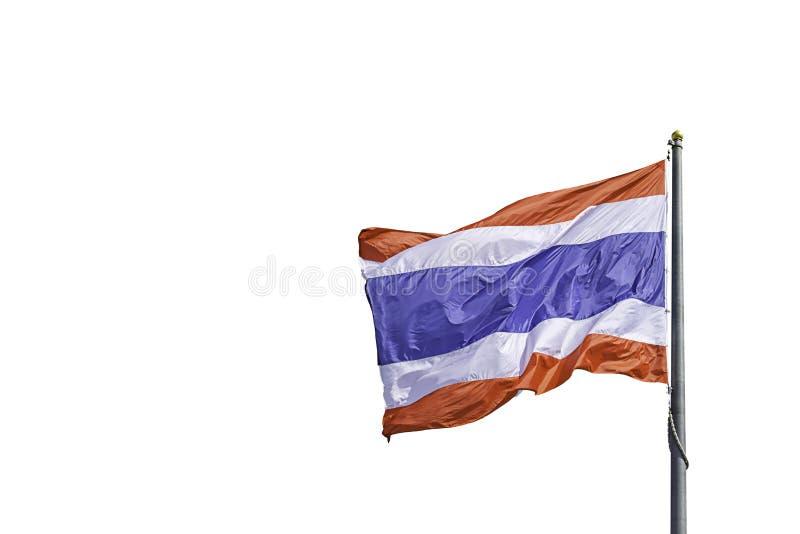 Lokalisierte Flagge von Thailand auf dem Pfosten auf weißem Hintergrund Mit Beschneidungspfad lizenzfreie stockbilder