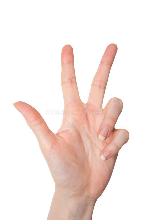 Lokalisierte Frauenhand, welche die Nr. drei lokalisiert auf Weiß zeigt stockbild