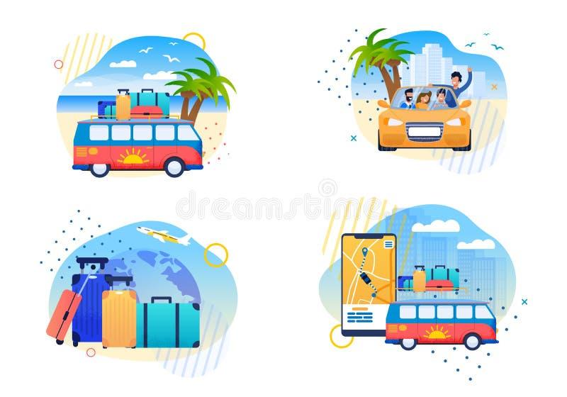 Lokalisierte glückliche Sommer-Reise-flache Vektor-Karikaturen stock abbildung