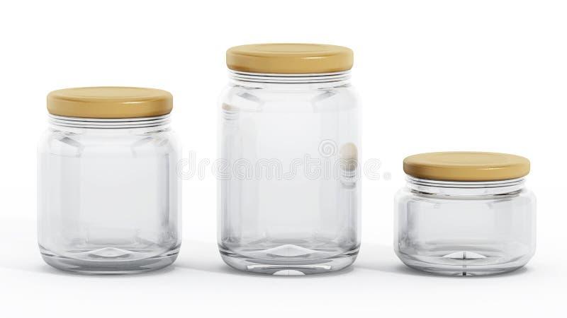 Lokalisierte Glasgefäße mit roten Deckeln lizenzfreie abbildung