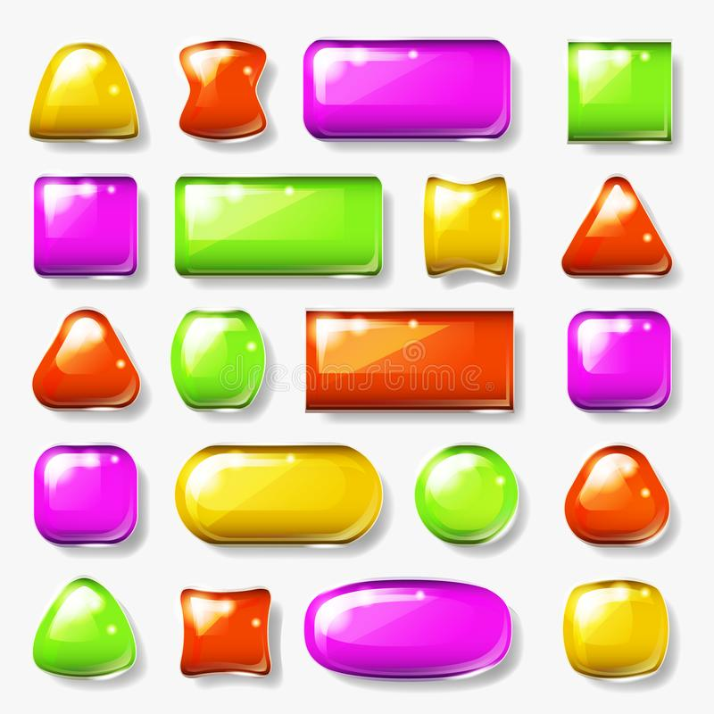 Lokalisierte glatte Knopf-Glasplatten-Spiel-APP Ui Element-Vektorillustration des Ikonendesigns glatte stock abbildung