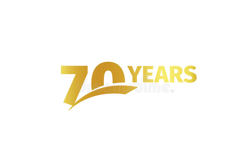 Lokalisierte goldene Farbe Nr. 70 mit Wortjahrikone auf weißem Hintergrund, Geburtstagsjahrestags-Grußkartenelement stock abbildung