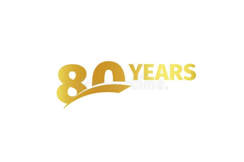 Lokalisierte goldene Farbe Nr. 80 mit Wortjahrikone auf weißem Hintergrund, Geburtstagsjahrestags-Grußkartenelement stock abbildung