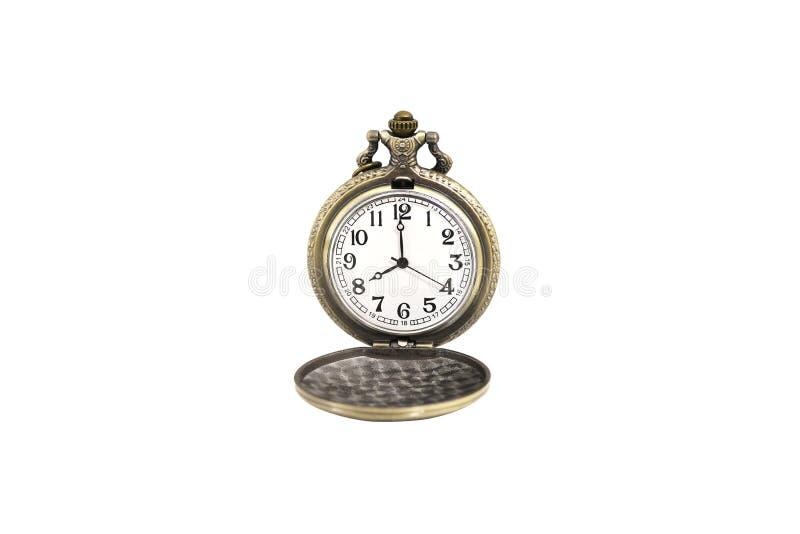 Lokalisierte goldene Taschenuhr der Luxusweinlese auf dem weißen Hintergrund, abstrakt für Zeitkonzept stockbild