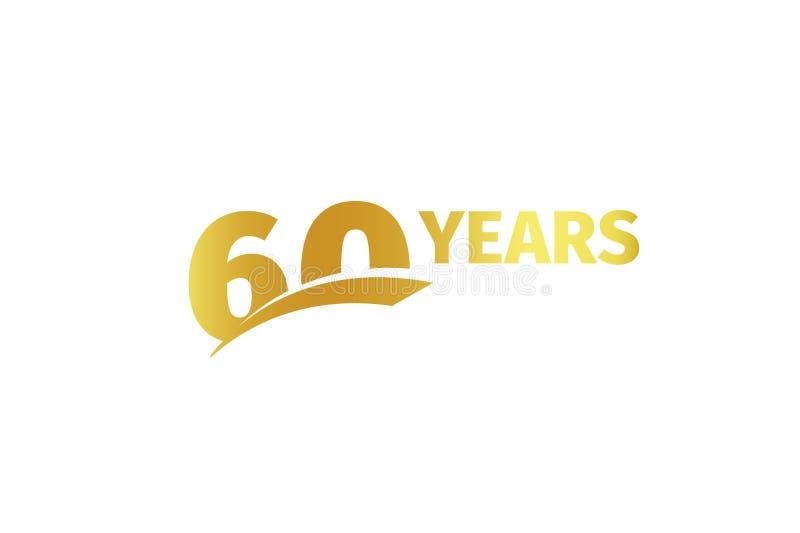 Lokalisierte goldene Wort-Jahrikone der Farbzahl 60with auf weißem Hintergrund, Geburtstagsjahrestags-Grußkartenelement vektor abbildung