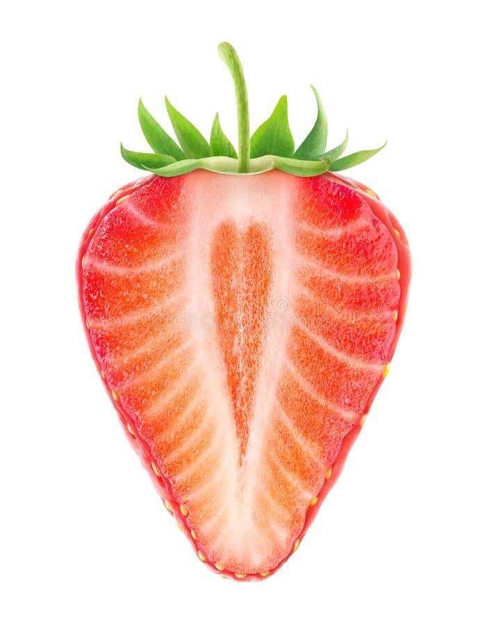 Lokalisierte Hälfte der Erdbeere mit Herzen formte Kern lizenzfreie stockbilder