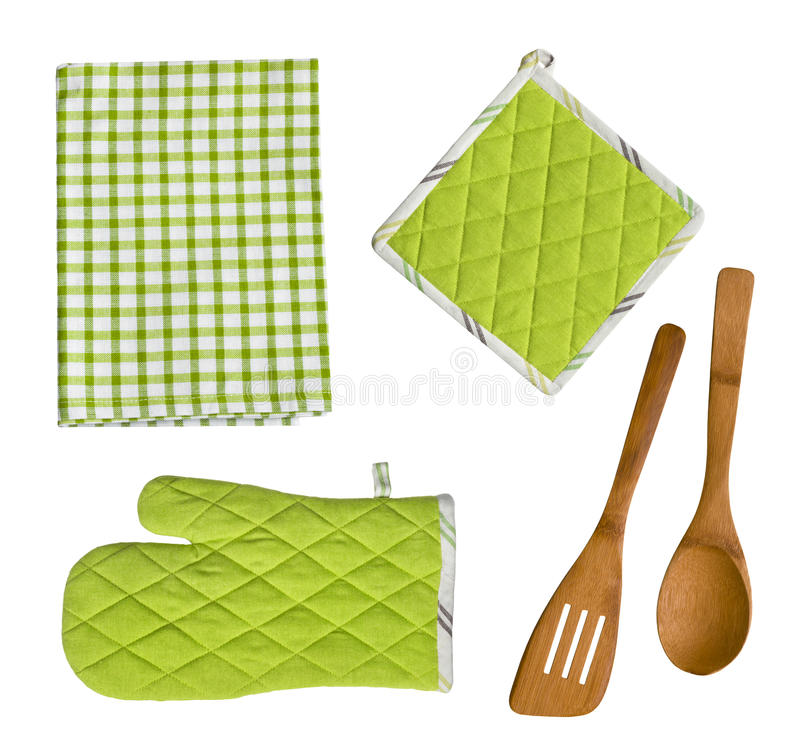 Lokalisierte hölzerne Küchengeräte, -handschuh, -Potholder und -tuch stockfoto