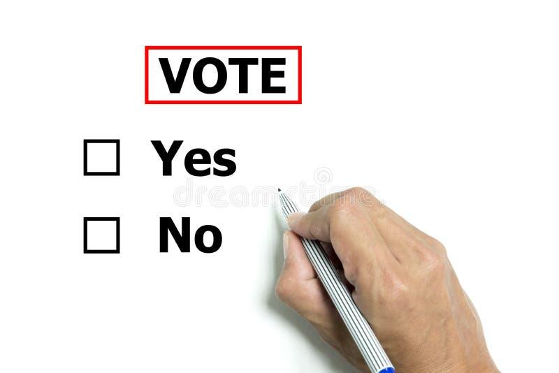 Lokalisierte Hand und Stift, zum ja zu wählen oder nein lizenzfreies stockfoto