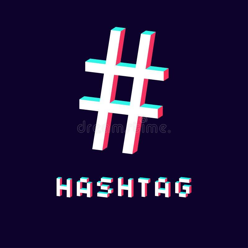 Lokalisierte hashtag Ikone 3d auf dunklem Hintergrund lizenzfreie abbildung