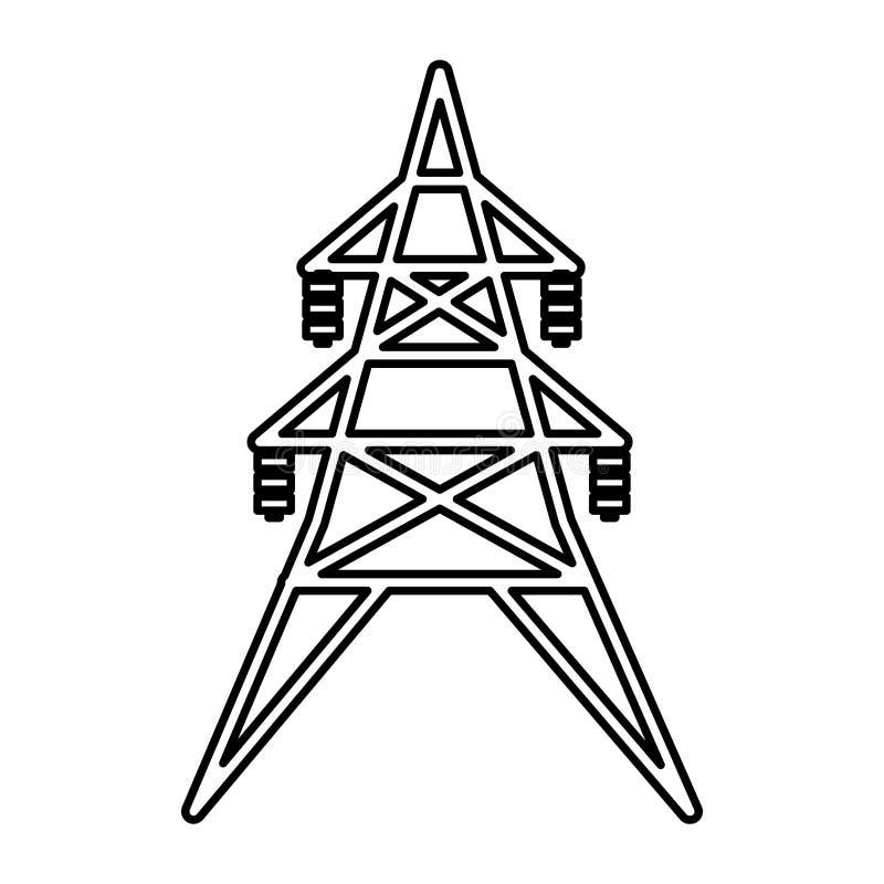 Lokalisierte Ikone der Energie Turm lizenzfreie abbildung