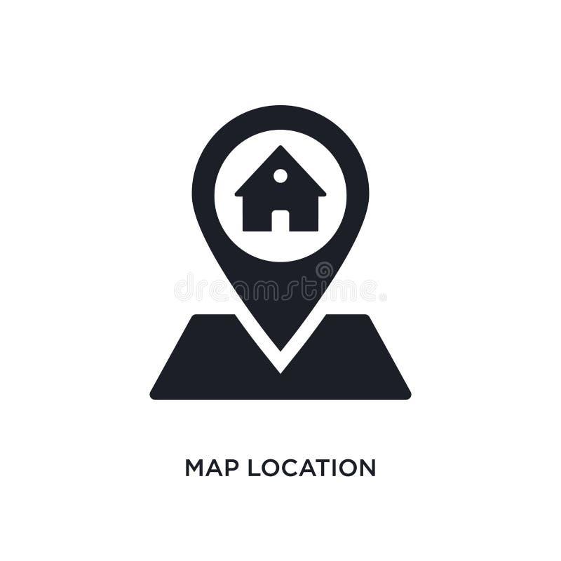 lokalisierte Ikone der Karte Standort einfache Elementillustration von den Immobilienkonzeptikonen Logo-Zeichensymbol des Kartens lizenzfreie abbildung