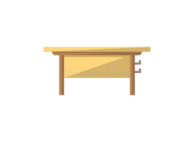 Lokalisierte Ikone der Klasse Schreibtisch in der flachen Art lizenzfreie abbildung