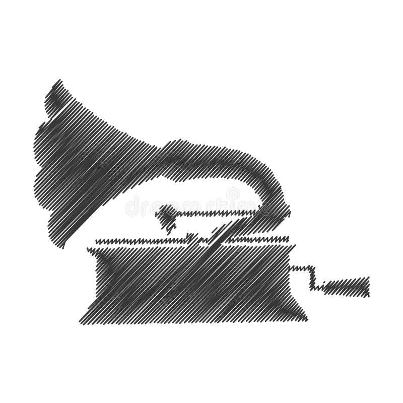 Lokalisierte Ikone des Grammophons Zeichnung stock abbildung