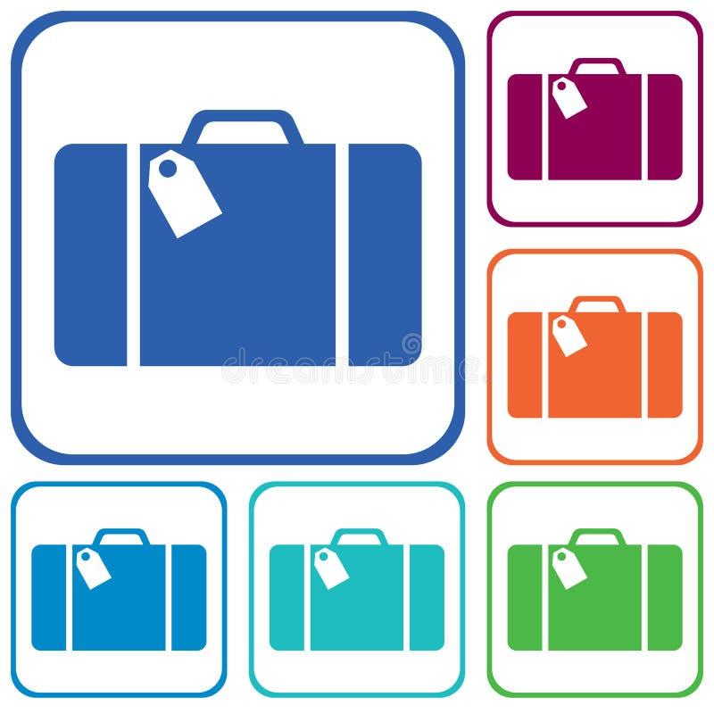 Lokalisierte Ikone des Koffers Reise vektor abbildung
