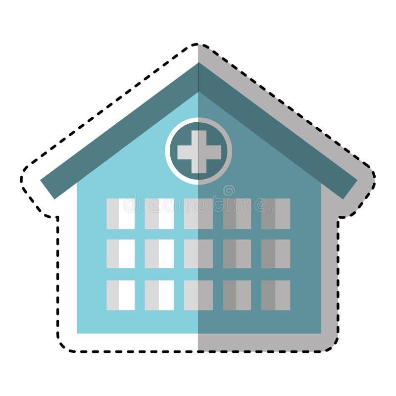 lokalisierte Ikone des Krankenhauses Gebäude lizenzfreie abbildung