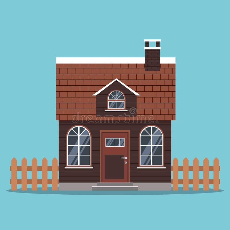 Lokalisierte Ikone des Landhauses mit einem mit Ziegeln gedeckten Dach und einem Kamin, Zäune in der flachen Art der Karikatur lizenzfreie abbildung