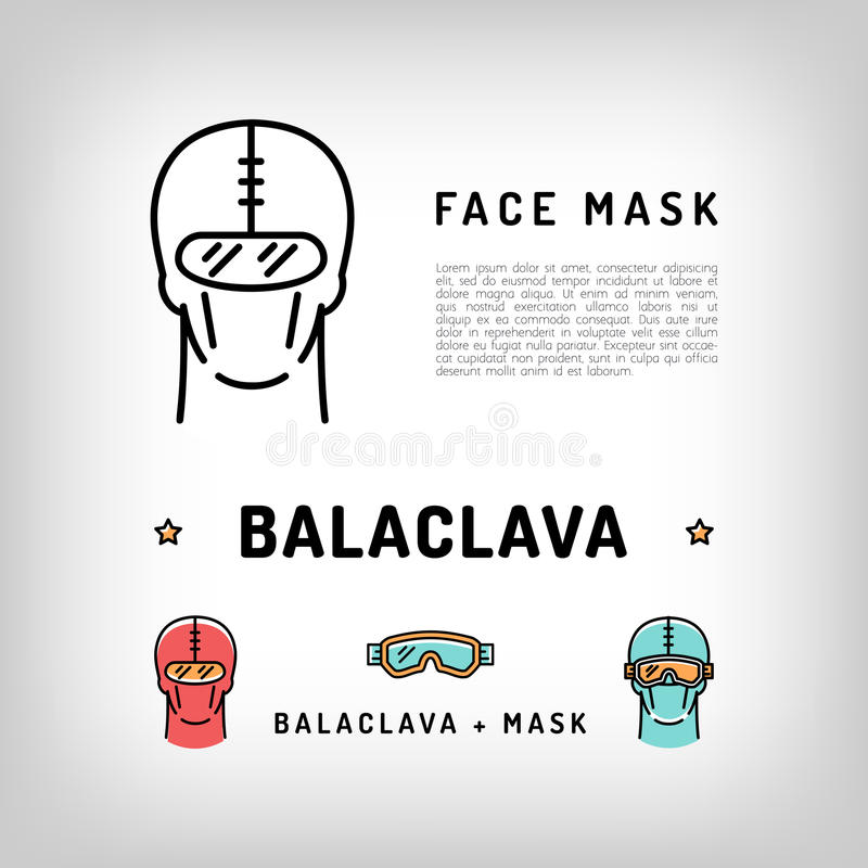 Lokalisierte Ikone des Vektors Kopfschutz Wintersport-Gesichtsmaske, Räubermaske vektor abbildung