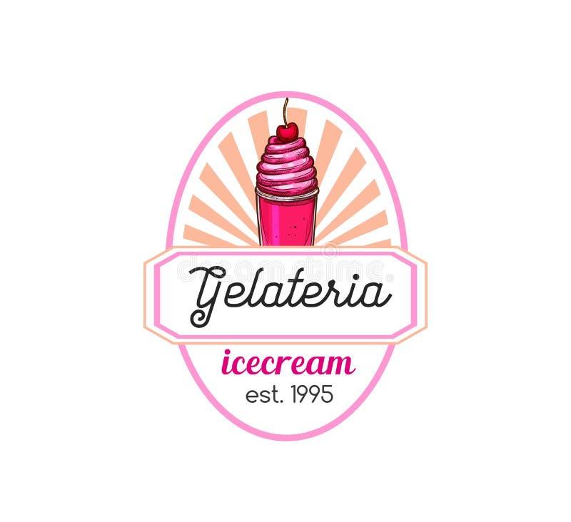 Lokalisierte Ikone Gelateria Vektor für Eiscreme lizenzfreie abbildung