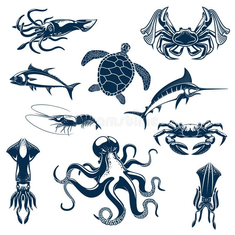 Lokalisierte Ikonen der Seefisch- und Ozeantiere Vektor vektor abbildung